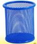 Подставка для ручек круглая 90х90х100мм, металлическая, синяя ZIBI