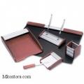 Настольный деревянный набор, МДФ_алюминий, 6 предметов, красное дерево, Good Sunrise RS6MU