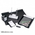 Настольный деревянный набор, МДФ_алюминий, 6 предметов, черный, Good Sunrise BK6MU